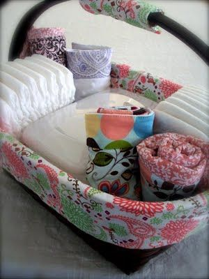 diaper changing basket, must have 2 or 3 around the house for easy access when baby is a newborn! But also makes a really cute baby shower present! Must do for Megan!!