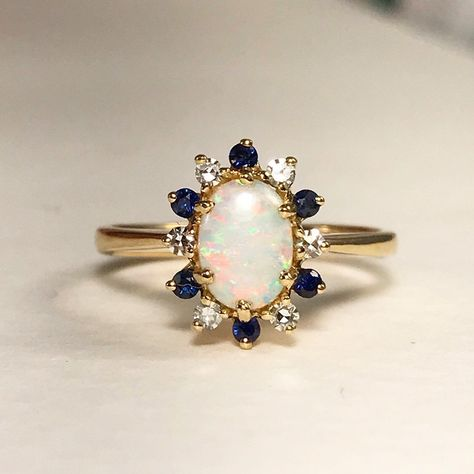 Excited to share this item from my shop: Yellow Gold Opal Sapphire and Diamond Ring / Opal Engagement Ring - size Engagement Ring Sizes, Rose Gold Engagement Ring, Engagement Ring Settings, Vintage Engagement Rings, Diamond Wedding Bands, Halo Diamond, Goth Wedding Ring, Opal And Sapphire Ring, Opal Wedding Rings