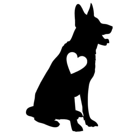 Sitting German Shepherd Heart Car Sticker German Shepherd Tattoo German Shepherd Art German Shepherd Puppies