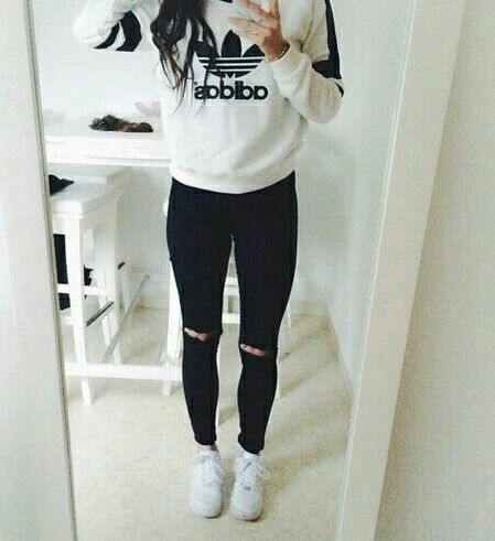 Casual outfits, Adidas outfit, Ripped