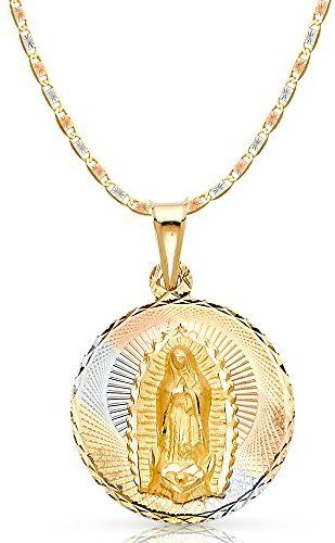 14k Two Tone Diamond Cut Jesus Crucifix Stamp Charm Pendant with 2.3mm Hollow Cuban Chain Necklace