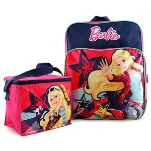 Barbie Backpack and Lunch Bag Combo. Ideal for the Barbie fan in the house comes this adorable Barbie school bag and lunch bag set. Made of 600D polyester canvas material, backpack features padded and adjustable back straps. Approximate Measurements: Backpack: 13 in (L) x 10 in (W) Lunch Bag: 6 in (L) x 7 in (W) x 4.5 (D) in