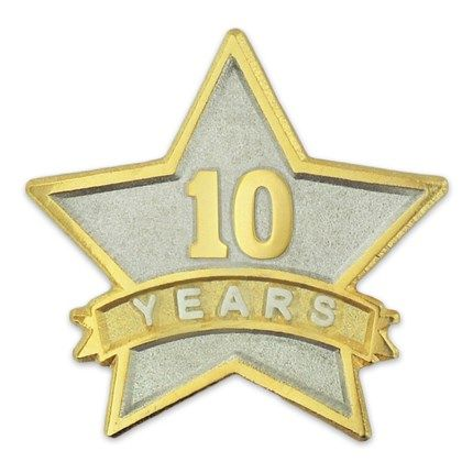 Years Of Service Star Pin 10 Years Service Awards Lapel Pins Lapel