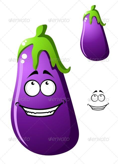 Colorful Purple Cartoon Eggplant Vegetable Graphicriver Purple Eggplant Color