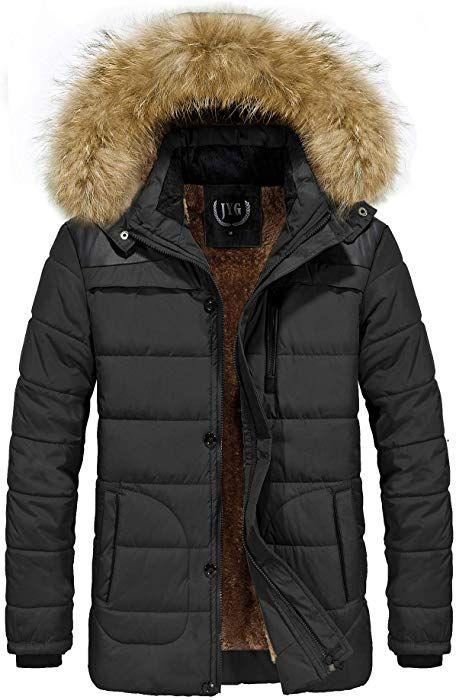 Cotton Coat Puffer Jacket With Fur Hood, Mens Winter Coats Fur Lined