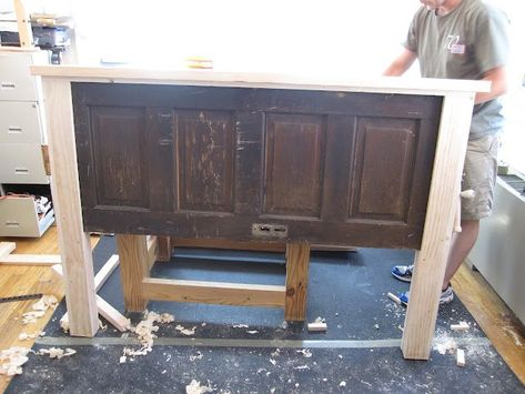Aint She Crafty: How To Build A Headboard From An Old Door is creative inspiration for us. Get more photo about home decor related with by looking at photos gallery at the bottom of this page. Build A Headboard, Headboard From Old Door, Headboards For Beds, Headboard Ideas, Door For Headboard, King Size Headboard, Door Bed Frame, Farmhouse Headboards, Antique Door Headboards