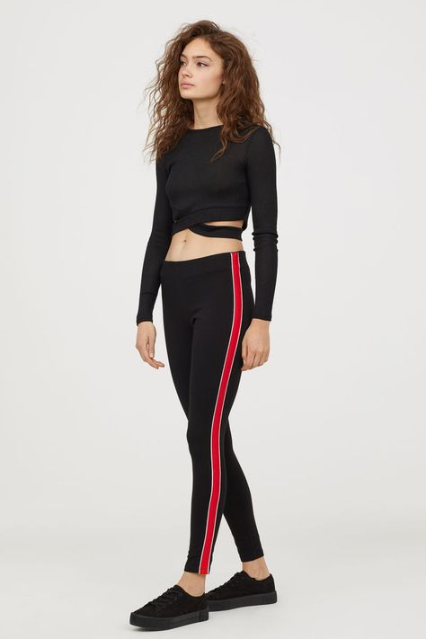 bc1e0bf593 Leggings with Side Stripes
