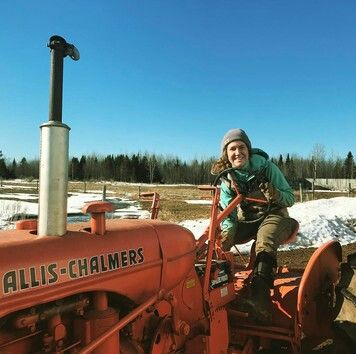 COLD IN MICHIGAN   picture of a happy farm girl on her