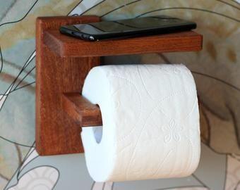 Wood Toilet Paper Holder With Shelf Walnut Toilet Roll Holder Minimal Bathroom Decor In 2020 Toilet Paper Holder Toilet Roll Holder Wood Toilet Paper Holder