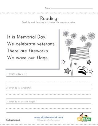 Memorial Day Reading Comprehension Worksheet With Images