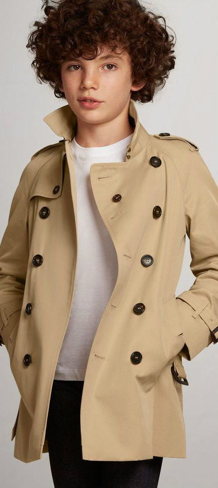 0bc364476837 Burberry Kids Boy Wiltshire Honey Trench Coat. This classic beige mini-me  trench coat is designed by London fashion house