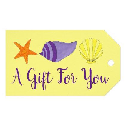 A Gift For You Sea Shell Seashell Beach Ocean Gift Tags Ocean Side Nature Waves Freedom Design Ocean Gifts Gift Tags Yellow Gifts