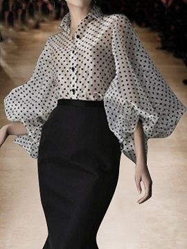 Shop White Lapel Polka Dot Print Puff Sleeve Chic Women Sheer Shirt from choies…. – 2020 Fashions Womens and Man's Trends 2020 Jewelry trends