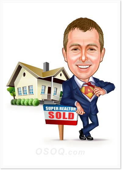 House Realtor Caricature Caricature Custom Cartoons Red Roof House