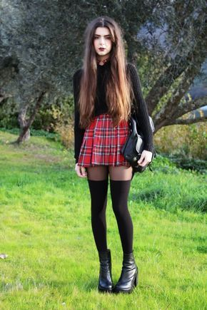 Choker + black cropped jumper + red tartan skirt + knee high socks + black shoes in 2019