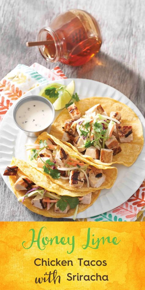 Honey Lime Chicken Tacos with Sriracha…must try recipe made with simple, natural ingredients like honey which is a simple and wholesome. #ad