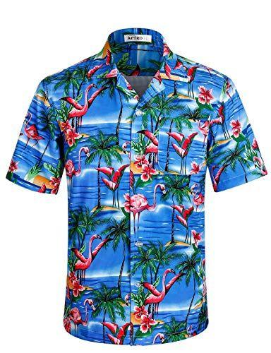 Blue,XXXL Mens Hawaiian Printed Shirt Mens Casual Button Beach Short Sleeve Quick Dry