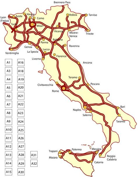 Maps of italy for travel planning italy italy train and train map italy autostrada map sciox Image collections
