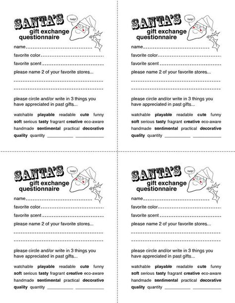 Image Result For Secret Santa Printable Forms Christmas Party