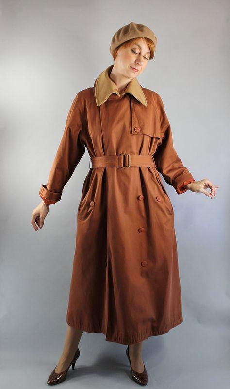Vintage des années 80 de rouille Womens laine marron doublé Long automne hiver Trenchcoat