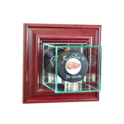 Perfect Cases And Frames Wall Mounted Single Puck Display Case Colour Cherry In 2020 Glass Display Case Frames On Wall Display Case