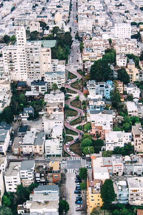 This Lombard Street aerial is pretty awesome. SF. San Francisco, California