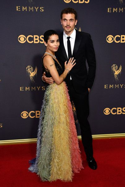Actor Zoe Kravitz and Karl Glusman attend the 69th Annual Primetime Emmy Awards at Microsoft Theater.