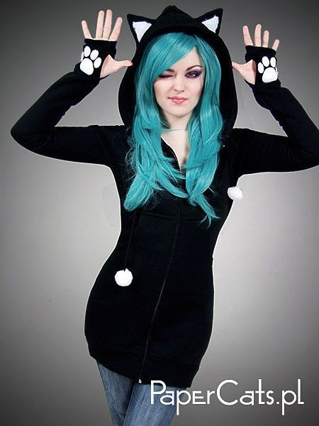 Black cat hoodie long ears animal kitty by PaperCatsPL on Etsy