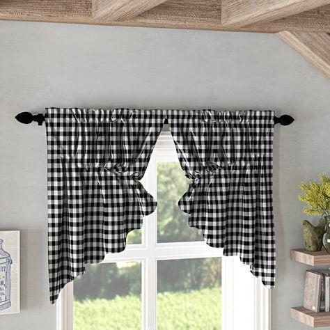 Caulder Buffalo Check Lined Kitchen Curtain Curtains Kitchen