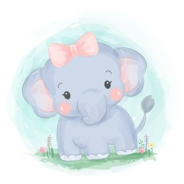 Cute Baby Girl Elephant Watercolor Illustration Zoo Animals Clipart Adorable Animal Png And Vector With Transparent Background For Free Download Baby Animal Drawings Elephant Illustration Baby Elephant