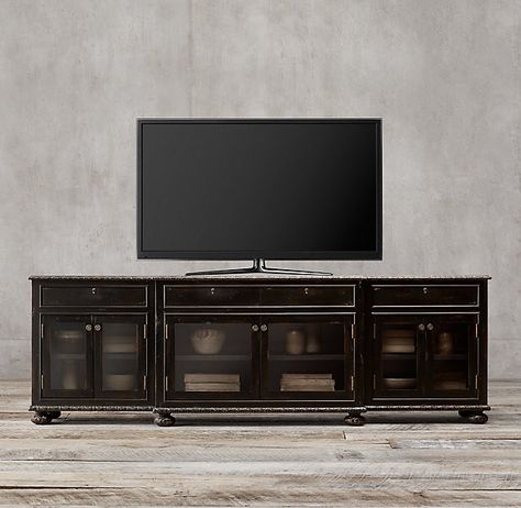 French Empire Glass Media Console            60w 22d 32h Other finishes available