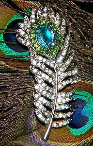 beautiful for a peacock theme wedding accent...bridesmaid gift?  brooch bouquet?