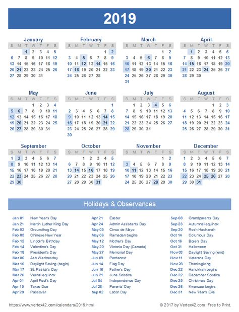 Download A Free Printable 2019 Calendar With Holidays From