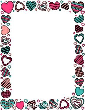 Printable Heart Doodle Border Use The Border In Microsoft Word Or Other Programs For Creating Flyers Invitat Heart Doodle Doodle Borders Floral Border Design