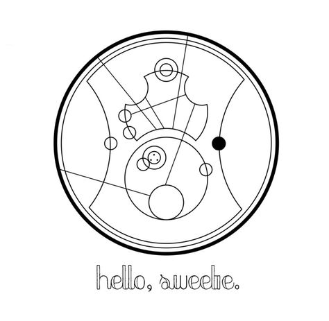 "River Song's famous ""Hello, sweetie"" written in a fanmade version of Circular Gallifreyan. 'Hello, sweetie' written in Circular Gallifreyan"