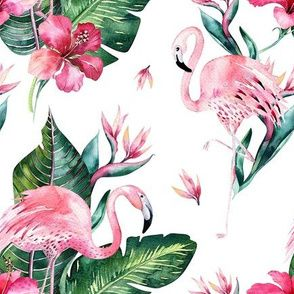 Colorful fabrics digitally printed by Spoonflower - Watercolor tropic jungle seamless summer pattern background with tropical palm monstera leaves, flamingo and exotic  hibiscus