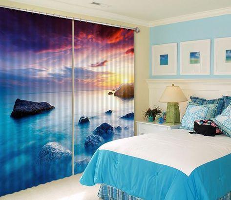 3d Vast Sea Sunset 496 Beach Curtains Drapes Drapes Curtains