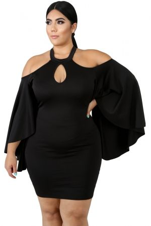 Black Plus Size Cold Shoulder Bell Sleeve Bodycon Dress ...