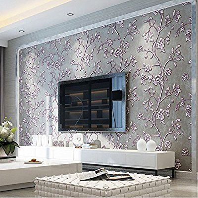 Qihang Modern Simple 3d Thick Non Woven Embossed Tree Flowers Pattern Living Room Wallpaper R Wallpaper Living Room Bedroom False Ceiling Design Tv Room Design