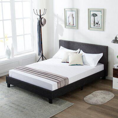 Winston Porter Upholstered Linen Platform Bed Metal Frame With