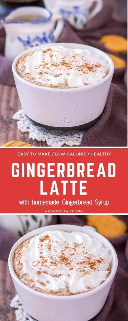 Creamy, sweet, and loaded with winter spices, this homemade Gingerbread Latte is perfect seasonal drink. It's healthy and delicious and super easy to make! ---- #ginger #gingerbread #gingerbreadlatte #coffee #coffeetime #latte #healthyrecipes #healthyfood #vegan #veganrecipes #gingerbreadspice