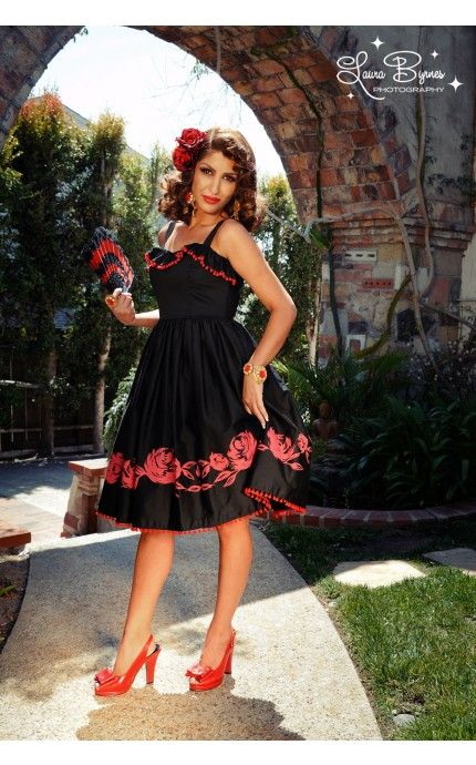 Final Bella Donna Dress In Red With Black Rose Border Print Pinup Couture Clothing And