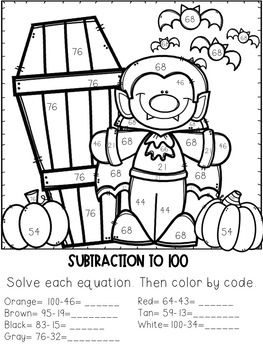 2 Digit Addition Amp Subtraction Color By Number Halloween Themed Subtraction Halloween Subtraction Addition And Subtraction