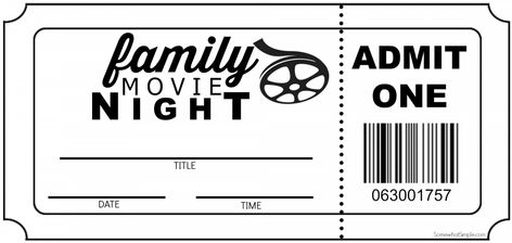 Printable Movie Tickets Template Awesome Family Movie Night Invitation Tickets somewhat Simple Movie Night For Kids, Movie Night Gift Basket, Movie Night Party, At Home Movie Theater, Family Movie Night, Family Movies, Movie Theater Party, Family Family, Theatre