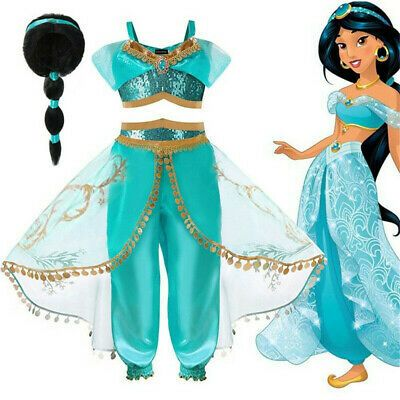 Children Girls Arabian Princess Wig Jasmine Fancy Cosplay Dress Costume Suit Au Minecraft Princess Jasmine Costume Kids Jasmine Costume Kids Princess Costumes