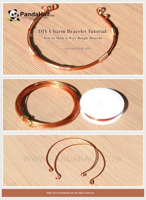 DIY Charm Bracelet Tutorial - How to Make a Wire Bangle Bracelet- can add charms to them by putting between the smaller wire