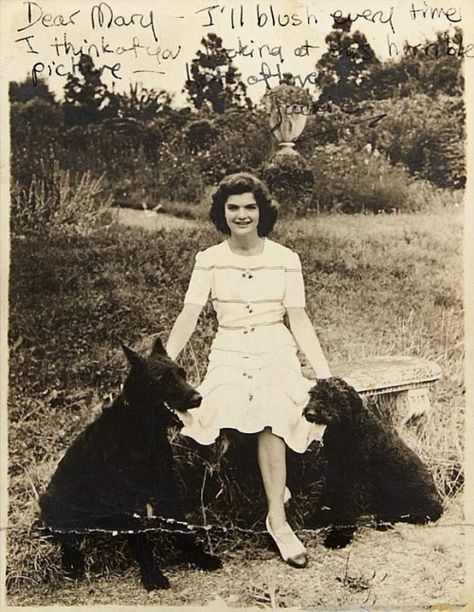 """1943, Merrywood, Virginia. """"Dear Mary, I'll blush every time I think of you looking at this horrible picture - lots of love, Jackie"""" (She's 14 here, when I was 14 I looked like a 10 year old waiting for a growth spurt.)"""