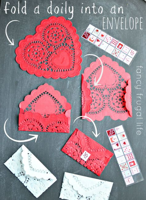How to fold a doily into an envelope (Easy dolllar store Valentine's Day craft) Quotes Valentines Day, My Funny Valentine, Valentine Day Love, Valentine Day Crafts, Vintage Valentines, Holiday Crafts, Valentine Wreath, Homemade Valentines Day Cards, Printable Valentine