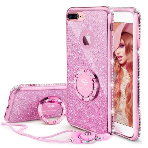 reputable site 834f7 a6e5e Amazon: iPhone 8 Plus Case, iPhone 7 Plus Case, Glitter Cute Phone ...