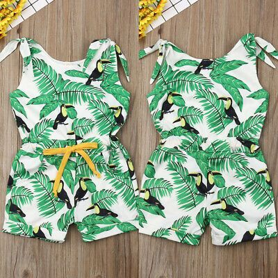 Jumpsuit For Girls One Piece New Summer Kids Sling Hearts Pattern Siamese Pants